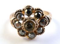 Vintage Hematite Set Floral Cluster Dress Ring.